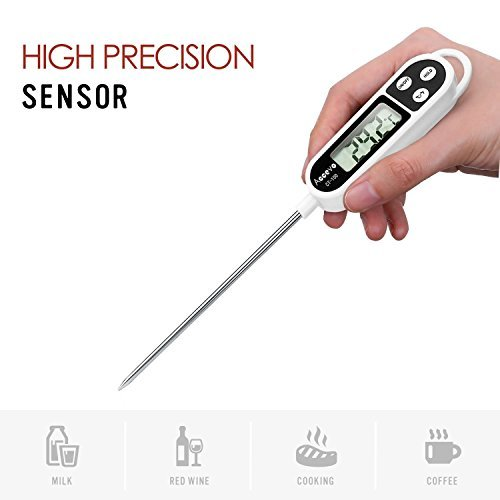 Digital Cooking Thermometers, Accevo Larger Screen Display Stainless Food Thermometer for Meat, Grill, Milk, Candy, with Long Probe, Auto Shutdown