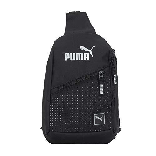 PUMA No 1 Logo Sidewall Sling Sac dos, Noir/argenté, taille unique Mixte