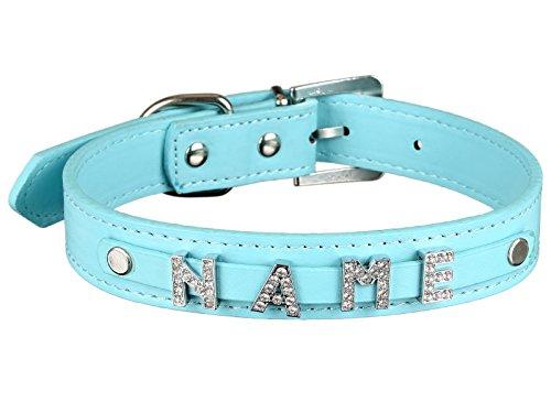 Scarlet pet | Hundehalsband »My-Name« inkl. 5 Strass-Buchstaben; mit Namen ihres Hundes personalisierbar; zusätzliche Buchstaben bestellbar (M: 38 cm, Türkis)
