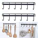 Rainmae 2 Pack Kitchen Adhesive Wall Hooks Rack Rail, Space Saving Wall Hanger No Drilling Hanger with 6 Hooks for Kitchen Bathroom Bedroom Closet Stainless Kitchen Tools for Hanging Knives, Spoon