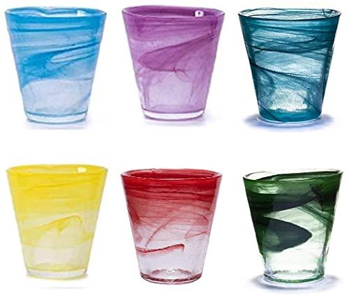 Pami Novita 2019, Bicchieri Acqua, Bicchieri Vino, Bicchieri Colorati, Bicchieri Cocktail, Bicchieri Aperitivo, Bicchieri Vetro, Set 6 Bicchieri (Mix Multicolore)