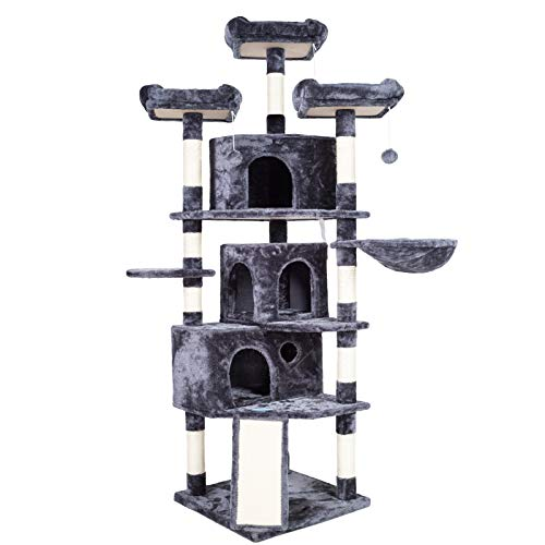 Heybrother XL Size Cat Tree Cat Tower with 3 Caves 3 Cozy Perches Scratching Posts Board Activity Center Stable for Kitten/Gig Cat Smoky Gray MPJ0032G