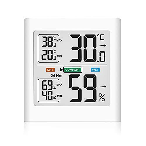 Digitales Thermometer Hygrometer Innen, Temperatur und Luftfeuchtigkeitmessgerät mit MIN/MAX-Aufzeichnungen Weiße Hintergrundbeleuchtung Komfortanzeige für Babyraum, Wohnzimmer, Büro, usw (White)