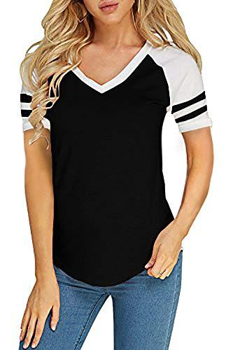 Foshow Womens Short Sleeve Raglan Baseball Tee Jersey Striped V Neck Blouses Tshirts Black