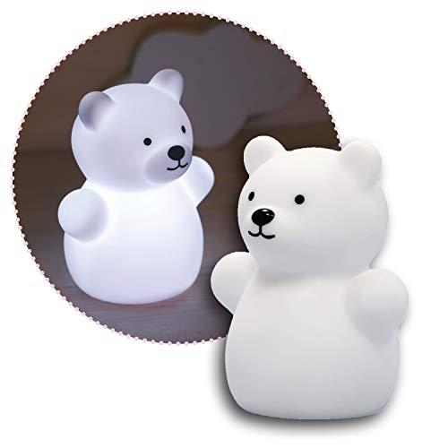 Reer lumilu Mini Zoo Bear, süßes Bären-Nachtlicht, tolles Taufgeschenk, Geburtstags-Geschenk für Jungen und Mädchen, 52330, weiß