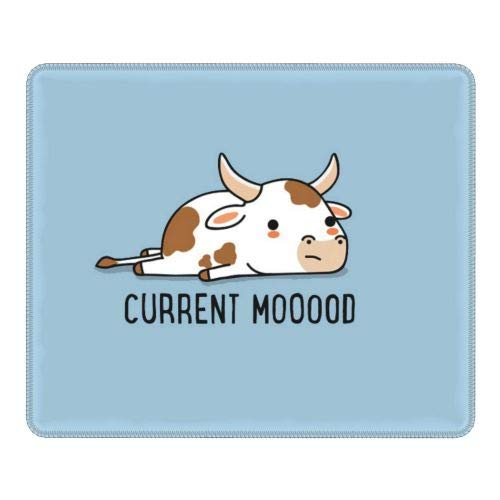 Mayakaka Cute Cow Gaming Mouse Pad, Mouse Pad with Durable Stitched Edges, 10.3' x8.3' x0.12' Cow Mouse Pad, for Games, Laptops, Computers, Offices, Non-Slip Rubber Base Waterproof Mouse Pad