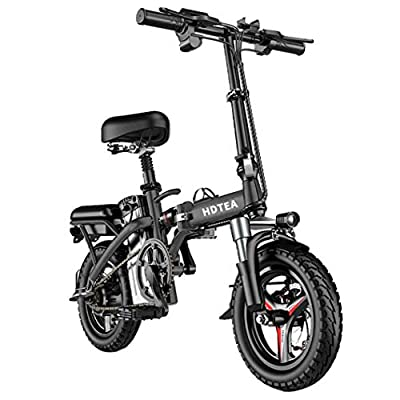 Folding Electric Bicycle 14'' E-Bike Scooter 250W Powerful Motor Waterproof Ebike for Adults and Teenagers (Black 250W 8A)