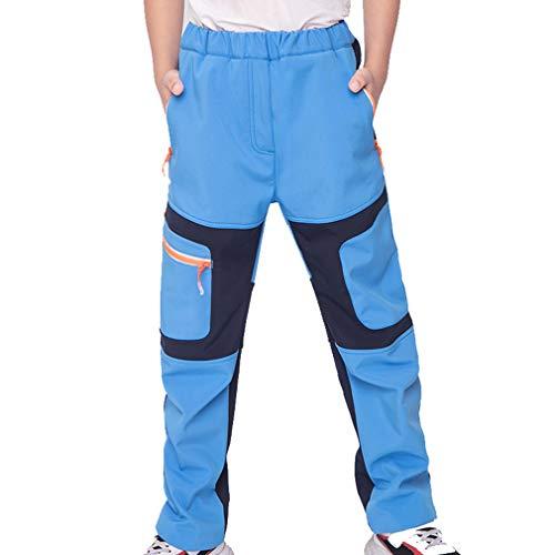 CIKRILAN Children Soft Shell Sports Outdoor Fleece Lined Pants Boys Girls Windproof Water Resistant Trousers(110, Blue)
