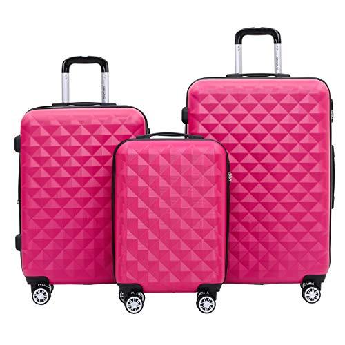 BEIBYE Kofferset 4 Zwillingsrollen Hartschale Trolley Koffer Reisekoffer Reisekofferset Gepäckset in 12 Farben (Peach)
