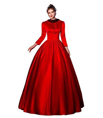 KEMAO Viktorianisches Rokoko Mittelalterkleid 18. Jahrhundert Kleid Inspiration Maiden Kostüm Ballkleid Gr. XXX-Large, Rot 1.2.1.