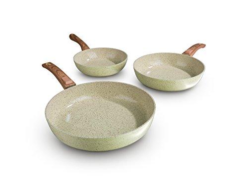 bratmaxx Keramik geschmiedet in Creme mit Holzoptik-Griff | 3-teiliges Set | Keramikbeschichtung | Induktion | Keramikpfanne | Pfannenset Pfanne, Mehrfarbig, 34 cm