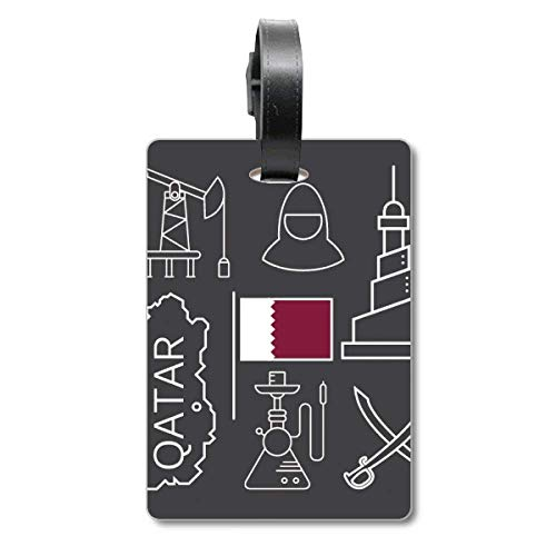 Drawing City - Etiqueta de identificación para Maleta, diseño de la Bandera de Catar