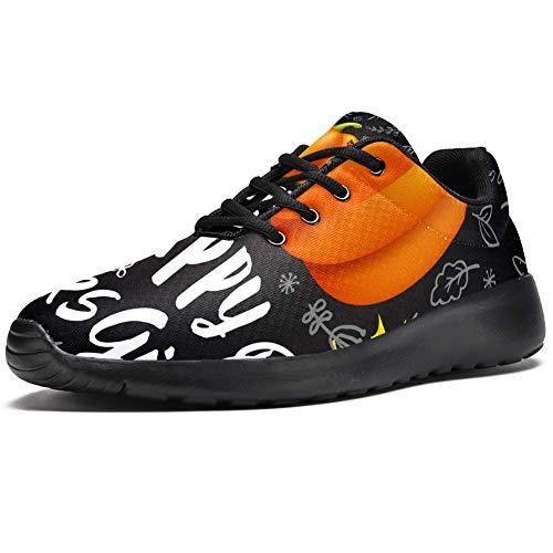 TIZORAX Zapatillas de correr para mujer, con diseño de calabaza y hojas de arce, transpirables, para caminar, senderismo, tenis, color Multicolor, talla 38.5 EU