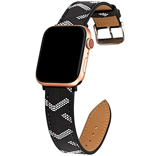 Gsmartive Plaid Leather Band Compatible with iWatch Band 38mm 40mm 42mm 44mm,Bling Sparkle Dressy Replacement Strap Compatible for iWatch Series 5,4,3,2,1 Sports & Edition Women (BG44)