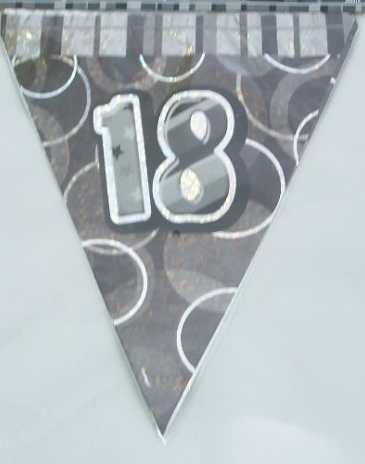 18TH BIRTHDAY BUNTING (NEW UNIQUE BLACK hol) 12FT LONG by Every-occasion-party-supplies