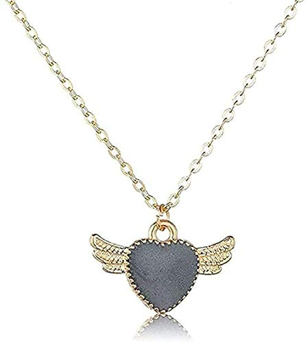 LBBYLFFF Necklace Romantic Heart with Angel Wings Pendant & Necklaces for Women Handmade Jewelry for Lovers Beautiful Wedding Chains Jewelry Gift Girl JU