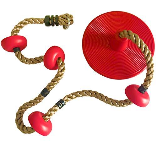 happypie Draußen hängender Baum Scheibe Schaukel Kletterseil mit Plattform Schaukel Set Schnell-Installation Zubehör enthalten (Rot)