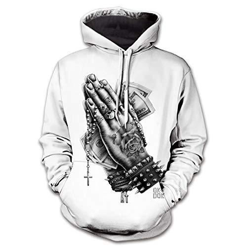WLZQ Sudadera para Hombre Sudadera con Personalidad para Hombre Músculo Creativo Impresión Digital 3D Suéter con Capucha De Moda para Hombre
