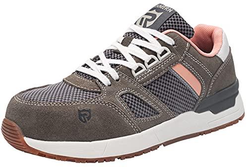 LARNMERN Zapatos de Seguridad Mujer Puntera de Acero Zapatillas Seguridad Ligero Comodos Transpirable Calzado de Seguridad Deportivo SRC Antideslizante S1 Zapatillas Trabajo(Gris,38EU)