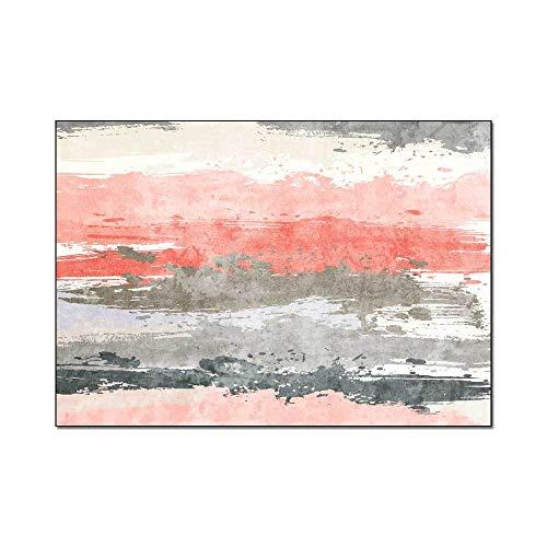 Roze tapijt Abstract aquarel strepen tapijt Antislip Indoor vloermat Home Decor Slaapkamer Slaapzaal Rechthoek sofa mat voor woonkamer slaapkamer keuken,100x160cm(39x63inch)