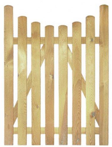 XycoX StaketenTür 'Premium' 100x140/120 cm - unten – kdi / V2A Edelstahl Schrauben verschraubt - aus getrocknetem Holz glatt gehobelt – nach unten Gebogene Ausführung - kesseldruckimprägniert