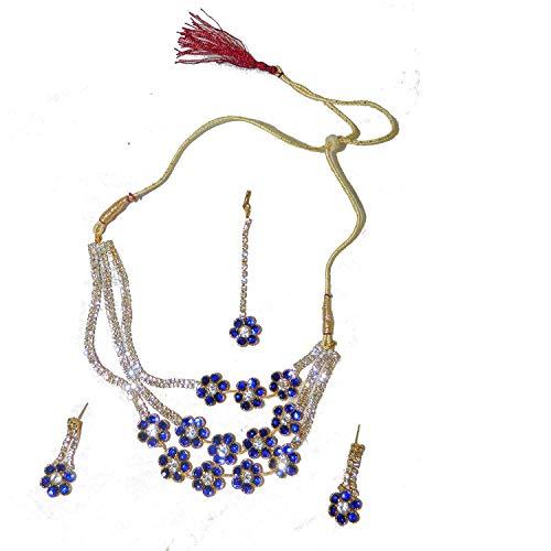 Conjunto Bollywood Sonam Azul Dorado con brazaletes y bindis Joyas Set Accesorio