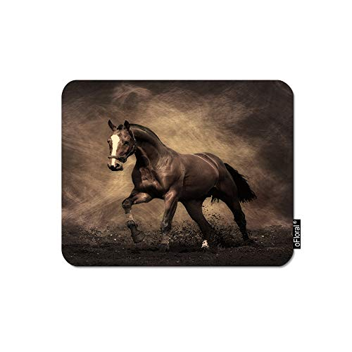 oFloral Horse Gaming Mouse Pad Brown Wild White Line Face Horse Running Galaxy Space Decorative Mousepad Rubber Base Home Decor for Computers Laptop Office Home 7.9X9.5 Inch