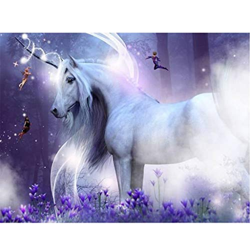 QGWMCD DIY 5D Diamond Painting Blue flower animal unicorn Full Drill Painting Rhinestone Embroidery Pictures Cross Stitch Arts Crafts for Home Wall Decor 11.8 inchx15.7 inch (Frameless)