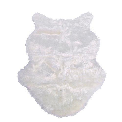 Wacent Alfombra de sofá de Piel de Oveja sintética(Blanco)