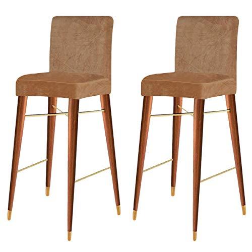 KELUINA Fundas de silla de terciopelo elástico con respaldo, funda elástica extraíble y lavable para silla de comedor giratoria corta, silla de bar, taburete (camello, juego de 2)