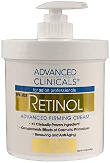 Advanced Clinicals Retinol Cream. Spa Size for Salon Professionals. Moisturizing Formula Penetrates Skin to Erase the Appe...