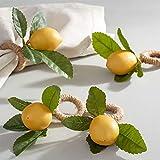 wonlex Handmade Napkin Rings Set of 4, Yellow Faux Lemon with Vine Napkin Ring for Wedding, Dinner Party, Banquet, Serviette for Christmas, Thanksgiving Day, Birthday (Lemon)