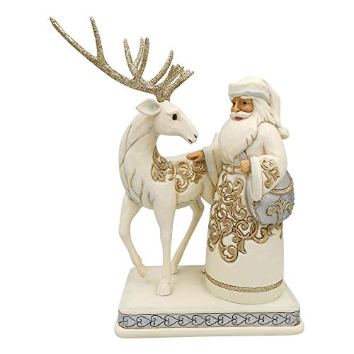 Enesco Jim Shore Heartwood Creek Holiday Lustre Santa/Reindeer Figurine