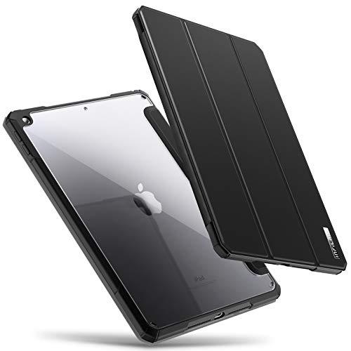 INFILAND Cover per iPad 10.2 2019 (10,2 Pollice, 7 Generazione), Bordo in TPU, Retro Traslucido Custodia, Auto Svegliati/Sonno,Nero