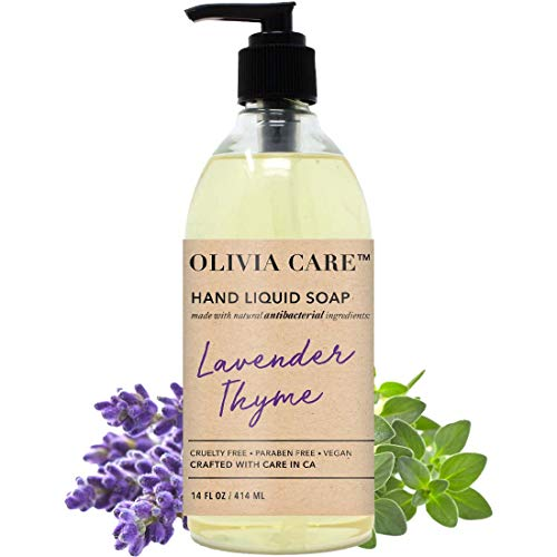 Antibacterial Hand Soap By Olivia Care – Infused with Sage & Tea Tree Oil & Lavender Thyme Fragrance, Cleansing, Germ-Fighting, Moisturizing Hand Wash for Kitchen & Bathroom - Gentle, Mild – 14 FL OZ