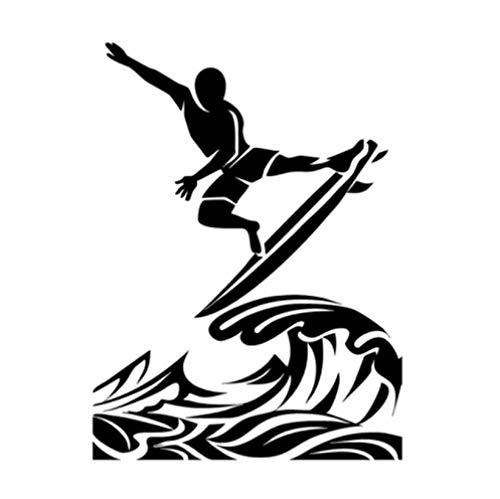 Gbrand Etiqueta engomada del Coche de 5 Piezas 12,6 * 17 CM Etiqueta engomada Interesante del Coche del Vinilo del Surf Negro