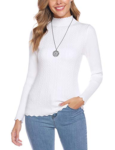 Abollria Women's Turtleneck Sweater Long Sleeve with Ribbed Slim Fit Pullover Tops White