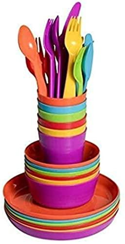 Klickpick Home Children Plastic Dinnerware Set Of 36 Pieces 6 colors Kids Set Includes, Kids Cups, Plates, Bowls, Flatware Set, Toddler Dishes Tumblers Reusable, Microwave Dishwasher Safe