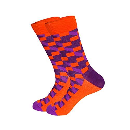 DYCZWZ 3 Paar Sport Freizeit Socken Die Glücklichen Socken Der Baumwollmänner Bemannen Klassische Gestreifte Blockmusterkleidersocken-Geschenkmänner