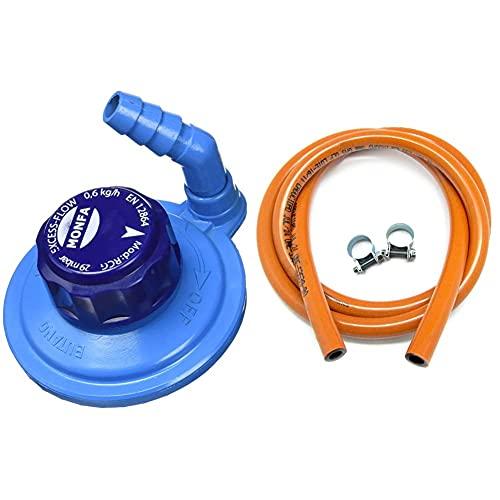 Monfa Grifo Regulador Giratorio M16 (Botella Azul), Azul + S&M 321535 Kit Tubería Homologada De Gas Butano De 1,5 Metros-Ø 9Mm Con Abrazaderas Con Pestaña, Naranja