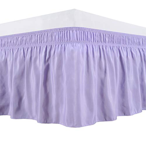 Biscaynebay Wrap Around Bed Skirts Elastic Dust Ruffles, Easy Fit Wrinkle and Fade Resistant Silky Luxrious Fabric Solid Color, Lavender for Full, Full XL, Twin and Twin XL Size Beds 15 Inches Drop