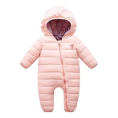 Livoral Baby Wintermantel Overall Dicker Overall mit Kapuze des neugeborenen Babybabywinters mit Reißverschluss(Rosa,0-6 Monate)