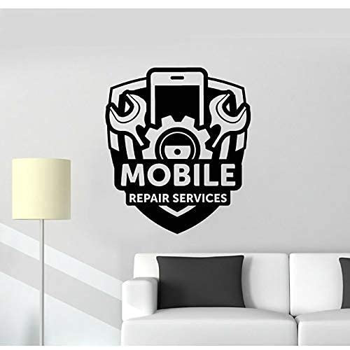 Servicio De Reparación De Teléfonos Móviles Signo Etiqueta De Vinilo De Pared Engranaje Destornillador Herramienta Arte Pegatina Papel Tapiz Tienda Calcomanía Extraíble 42X48 Cm