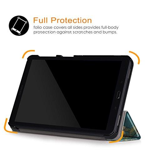 Xuanbeier Ultradünne Hülle Kompatibel mit Samsung Galaxy Tab A 10.1 2016 SM-T580/T585 (A6) Tablette Schutzhülle mit Ständer und Auto Schlaf/Wachen Funktion,Blume
