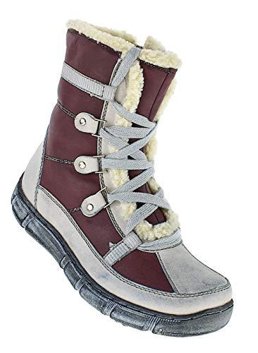 Bootsland Winterstiefel Stiefel Winterschuhe Damenstiefel Damen 053, Schuhgröße:36, Farbe:Weiß/Rot