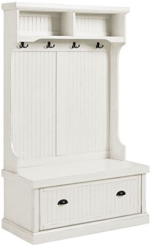 Crosley Furniture Seaside Hall Tree - Distressed White Now $226.09 (Was $389.00)