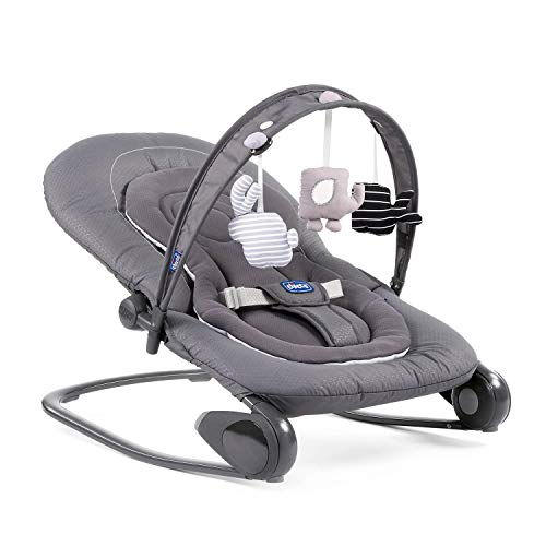 Chicco Hooplà Babywippe von Geburt bis 18 kg, für Neugeborene oder Babys, Wippe und Babysitz, mit Spielstange, verstellbare Rückenlehne und Reduzierkissen, kompakter Verschluss, Grau