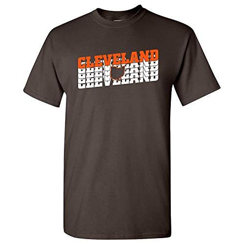Retro Repeat-Sports Team Pride Tailgating T-Shirt,Klein,Cleveland dunkle Schokolade