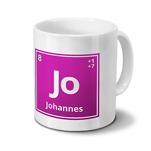 Tasse mit Namen Johannes als Element-Symbol des Perioden Systems - pink - Namenstasse, Kaffeebecher, Mug, Becher, Kaffeetasse