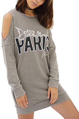 trueprodigy Casual Damen Marken Sweatshirt lang Aufdruck Oberteil Cool Stylisch Rundhals Langarm Slim Fit Sweatkleid für Frauen, Farben:Darkgrey, Größe:XS